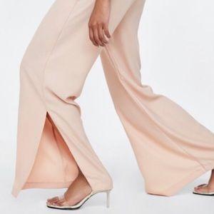 Zara nude heeled vinyl sandals
